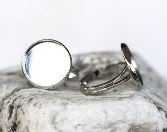 1686_Round blank rings, Adjustable size,Round tray caboshon,Silver round ring,Silver blank ring,Ring cabochon,Ring setting cameo 16 mm_5 pcs