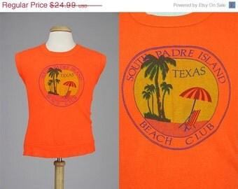 ON SALE Vintage 80s Acrylic Orange Texas South Padre Island Beach Club Sweater Vest XL