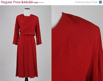 ON SALE Vintage 70s/80s Red Full Skirt Gabardine Bias Cut Secretary Dress Midi USA L