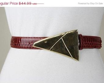 ON SALE Vtg 80s Avant Garde Geometric Buckle Snakeskin Leather Snap on Belt 32-36 L/Xl