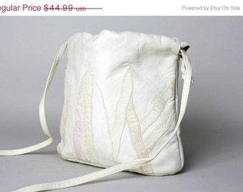 ON SALE Vintage 80s GORGEOUS Cream Leather Snakeskin Purse Bag