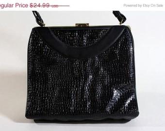 ON SALE Vtg 60s Black Rockabilly Handbag Purse Kelly Bag Croc