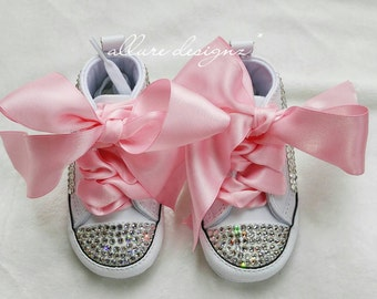 Baby bling converse, bling baby shoes, baby converse, baby girl shoes, baby girl shower gift, swarovski baby shoes, baby girl clothes, baby
