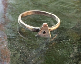 "1970's Vintage Silver Letter ""A"" Ring Size 6"