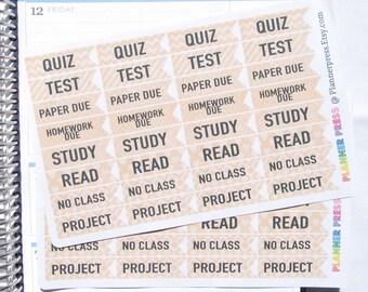 College School Stickers Kraft Paper Planner Sticker Erin Condren, KikkiK, Filofax Planners and Midori Notebooks  Reminder Sticker 1550