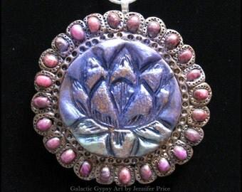 Lotus Magic Talisman/Totem Polymer Clay Pendant/Necklace