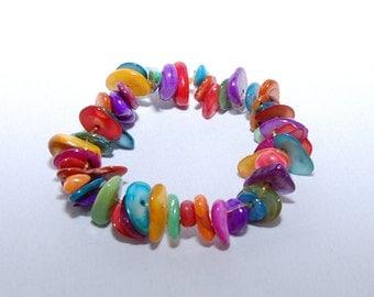 Rainbow Colours Shell Chip Bracelet