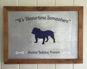 English Bulldog Sign - English Bulldog Art - English Bulldog Kitchen Sign - English Bulldog Gift