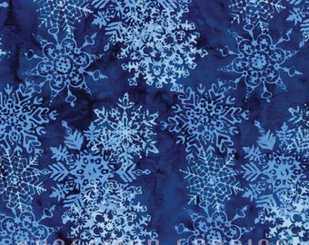 Hoffman - Bali - Handpaints - Snowflakes Navy - L2661-19 - Snowflakes - Navy - Blue - One More Yard