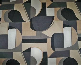 KRAVET Lee Jofa EMPIRE GEOMETRIC Art Deco Fabric 3 Yard Remnant Beige Charcoal Black White
