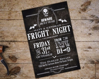 Halloween party invitation; customizeable; PDF; Skull; Beware