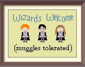 Harry Potter Wizards Welcome Cross Stitch Pattern: Buy 2 Patterns Get 1 FREE!!