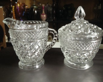 Diamond Cut Crystal Sugar & Creamer Set