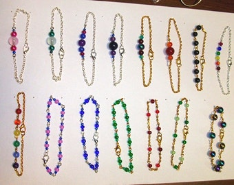 Gemstone, Glass and Glow-in-the-dark Bead and Chain Bracelets