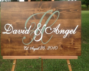 Custom wedding sign, personalized name sign, couple name sign, established name sign