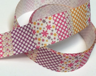 1 inch Pretty Pastels Polka Dots and Tiny Flowers Block Design - Printed Grosgrain Ribbon for Hair Bow