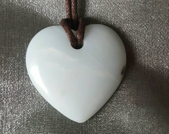Amazonite crystal necklace   loveheart (large)  heart crystal necklace