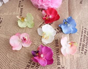 "20 Pcs Flower Heads Artificial Silk Flowers,2.55"",Hair Flower Supply,Artificial moth orchid,Bridal Wedding Floral Supplies(131-37)"