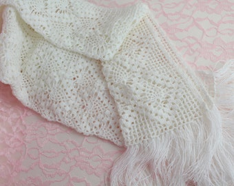 White Scarf. Pure handmade.Made to order. Vintage Clothing