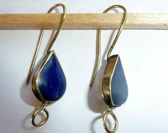 Earhooks with Lapis Lazuli, Hooks for Earrings, Lapis Lazuli, Hooks for Dangling Earrings with Lapis Lazuli Stone
