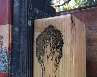 Bookend with illustrated tree