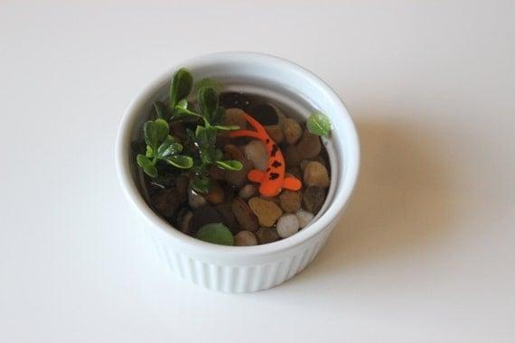 Miniature koi pond in porcelain bowl fake koi by paradiseponds for Koi viewing bowl