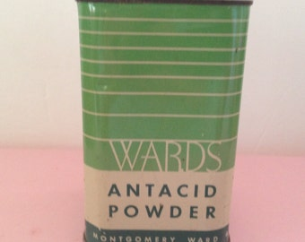 "Vintage WARDS Antacid Powder tin (empty) by Montgomery Wards & Co., Chicago. 4 1/2"" high x 2 1/2"" across. #430"
