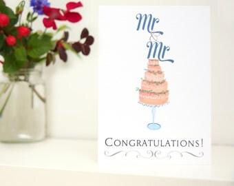 Gay Wedding Card   Same Sex Marriage   Two Grooms   LGBT card   Mr & Mr Congratulations!