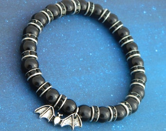 Bat Bracelet, Bat Charm Bracelet, Bat Gift, Vampire Jewellery, Vampire Bat, Vampire Costume, Bat Jewelry, Vampire Jewellery, Vampire Fan