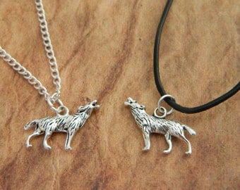 Wolf Necklace, Werewolf Necklace, Wolf Charm, Mens Necklace, Wolf Jewellery, Leather Necklace, Werewolf Costume, Howling Wolf, Wolves Fan