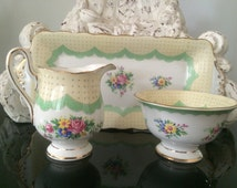 15% OFF SALE! Crown Royal Albert Prudence Sugar Creamer and Tray Set - Green with Roses Vintage c.1927-1935 - Like New!