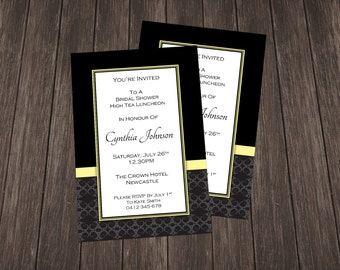 Bridal Shower Invite-Black and Yellow Damask