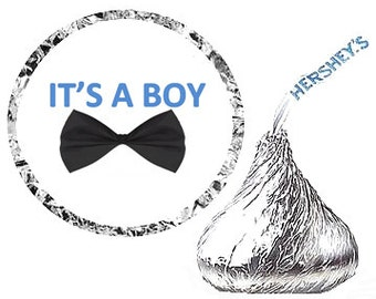 Its a Boy Baby Shower Bow Tie Party Favor Hershey's Kisses Stickers / Labels -216ct