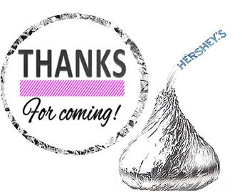 Pink Thanks for Coming Birthday Party Favor Hershey's Kisses Stickers / Labels -216ct