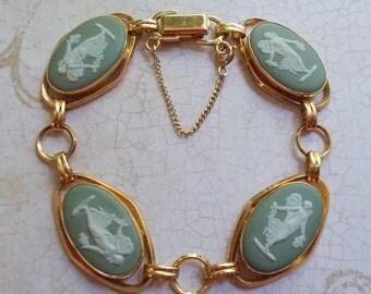 Vintage Van Dell Wedgwood Green Jasperware Cameo Bracelet Made in England 12k Gold Filled