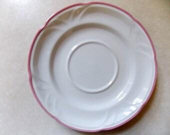 vintage Victoriana Stoneware Saucer pink trim 1988 6 inch