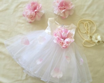 Pink Peony Princess Tulle and Petals Dress, Flower Girl Dress, Silk Dupioni Baby Girl Princess Gown, Birthday Boudoir Photoshoot