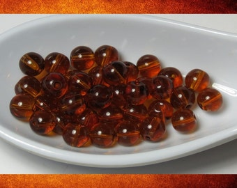 Glass Beads - Amber Brown 5mm round. 38 Beads for jewelry-making and crafts. #BEAD-532
