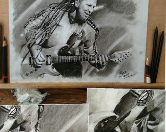 PRINT of a hand drawn charcoal pencil drawing - ZOLTAN - 5FDP - Size A4