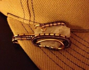Wire Wrapped Quartz Hat Clip