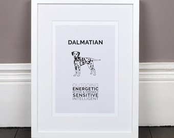 Dalmatian Print Gift Picture Art Artwork Illustration Text Typography