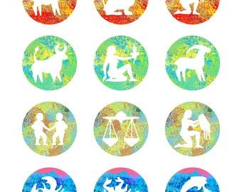 12 Astrology Zodiac Sign Watercolor Wall Art Digital Print 11 x 14