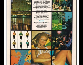 "Vintage Print Ad December 1971 : Sonesta Hotels Bikini Sexy Girl Wall Art Decor 8.5"" x 11"" Advertisement"