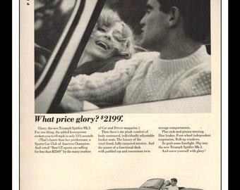 "Vintage Print Ad May 1965 : Triumph Spitfire Mk 2 Automobile Car Sexy Girl Wall Art Decor 8.5"" x 11"" each Advertisement"