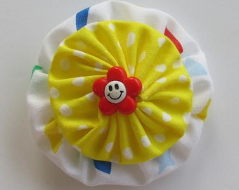 Cute Happy Face Hair Clip, Primary Colors, YoYo Hair Clips, Retro Style, eclectiKIDS