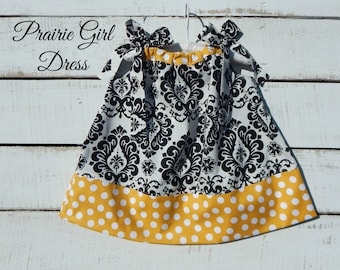 Damask Dress, Baby Shower Gift, Newborn Gift, Toddler Sun Dress
