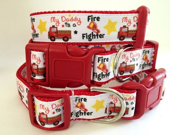 Dog Collar- Fire Fighter Dog Collar - Adjustable Medium or Large Dog Collar - Red Fire Engine Dog Collar - Girl or Boy Dog Collar - Hero