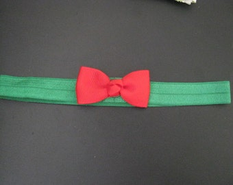 baby headband christmas green elastic with red bow
