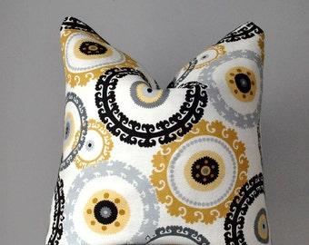 Decorative Pillow Cover, Throw pillows, Yellow Black pillow, Sofa Pillow, Pillows, Home decor, hand made, toss pillow, YB1