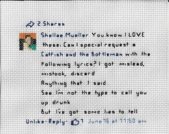 Custom Facebook and Twitter Posts - Cross stitch